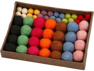 Filzkugeln 52 Stück Ø 10 - 20 mm mehrere Farben