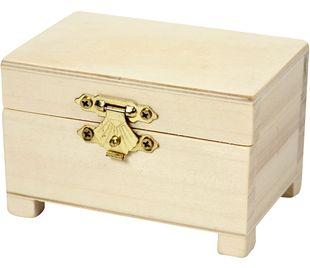 Mini-Holztruhe 9 x 6 x 6 cm braun