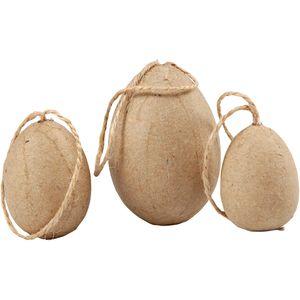 Eier aus Pappmachee 6 Stück natur