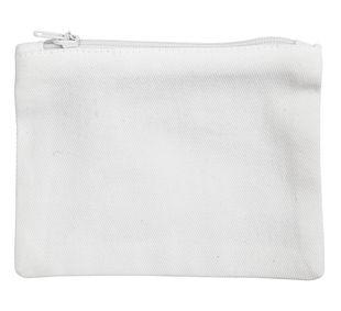 Geldbörse/tasche aus Baumwolle 9 x 12 cm weiss