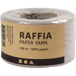 Papierbast Raffia 7-8 mm x 100 m hellgrau
