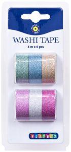 Washi Tape Set 6 Stück mit Glitzer-Effekt mehrere Farben