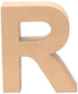 """Papp-Buchstabe """"R"""" 17,5 cm natur"""