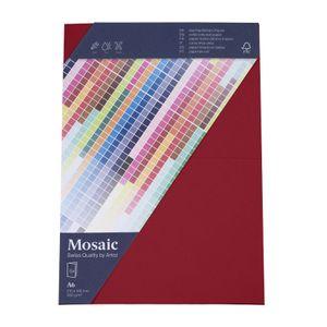 MOSAIC Doppelkarten A6 5 Stück weinrot