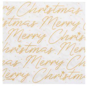 """Servietten """"Merry Christmas"""" 20 Stück 33 x 33 cm weiss"""