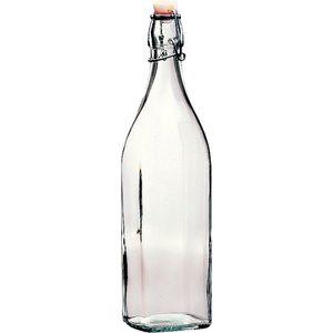 """BORMIOLI ROCCO Glasflasche """"Swing"""" mit Bügelverschluss 4-Kant 1 Liter"""