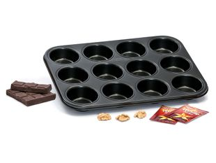 Muffinbackblech für 12 Stück 35 x 27 cm schwarz