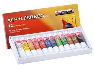 Bestpoint Acrylfarbenset 12 x 12 ml