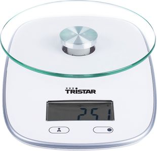 TRISTAR Küchenwaage mit Glasplatte inkl. Batterien weiß