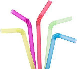 Trinkhalme zum Knicken 20 Stück neonfarben