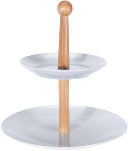 Etagere mit 2 Etagen 27 cm braun/weiss