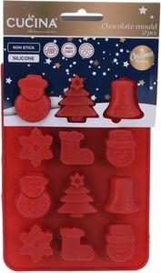 """Pralinenform """"Weihnachten"""" aus Silikon rot"""