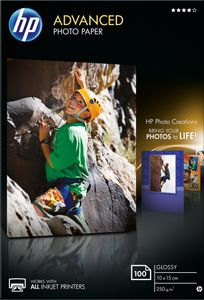 """HP Fotopapier """"Advanced"""" glänzend 10 x 15 cm 250 g/m² 100 Blatt"""