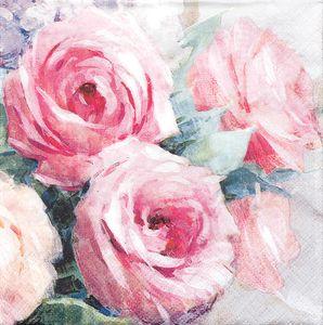 """Servietten """"Rosen"""" 20 Stück 33 x 33 cm rosa"""
