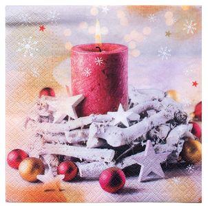 """Servietten """"Weihnachtskerze"""" 20 Stück 3-lagig 33 x 33 cm bunt"""