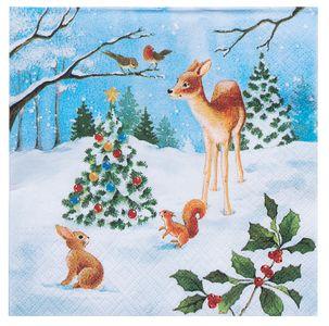 """Servietten """"Weihnachtswald"""" 20 Stück 33 x 33 cm bunt"""