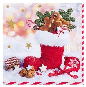 """Servietten """"Weihnachtsstiefel"""" 20 Stück 3-lagig 33 x 33 cm bunt"""