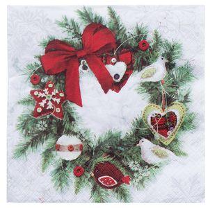 """Servietten """"Weihnachtskranz"""" 20 Stück 3-lagig 33 x 33 cm bunt"""
