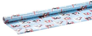 """Geschenkpapierrolle """"Pinguine"""" 2 m x 70 cm blau"""