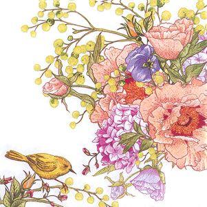 """Servietten """"Blumen & Vogel"""" 20 Stück 33 x 33 cm bunt"""