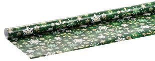 """Geschenkpapierrolle """"Schneeflocken"""" 2 m x 70 cm grün"""
