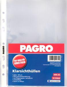 PAGRO Klarsichthülle A5 mittelstarkes Material 10 Stück transparent