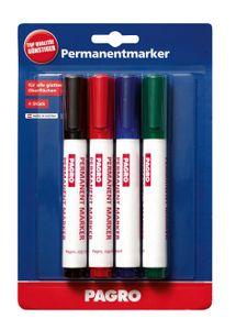 PAGRO Permanentmarker 3 mm mehrere Farben 4 Stück