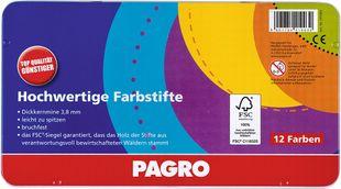 PAGRO Dickkernbuntstifte 12 Stück verschiedene Farben