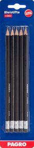 PAGRO Bleistifte mit Radierer HB/Nr.2 5 Stück schwarz
