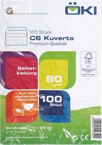 ÖKI Kuvert C6 ohne Fenster 100 Stück selbstklebend weiß