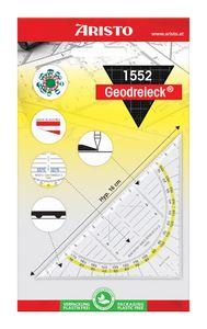 """ARISTO Geodreieck """"1555/2"""" 22,5 cm mit Griff, Facetten und Tuschenoppen transparent"""