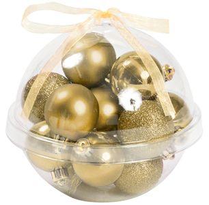 Kugel mit Christbaumschmuck befüllt 14 Stück gold